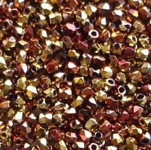 True 2mm Fire Polished, Jet California Gold Rush - 50
